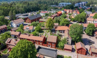 Open Air Museum Gamla Linköping in Sweden from the sky